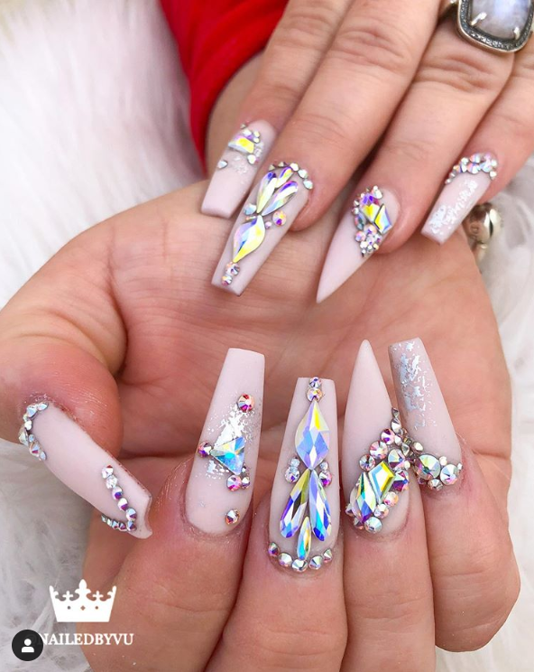 Pink nails with crystal art