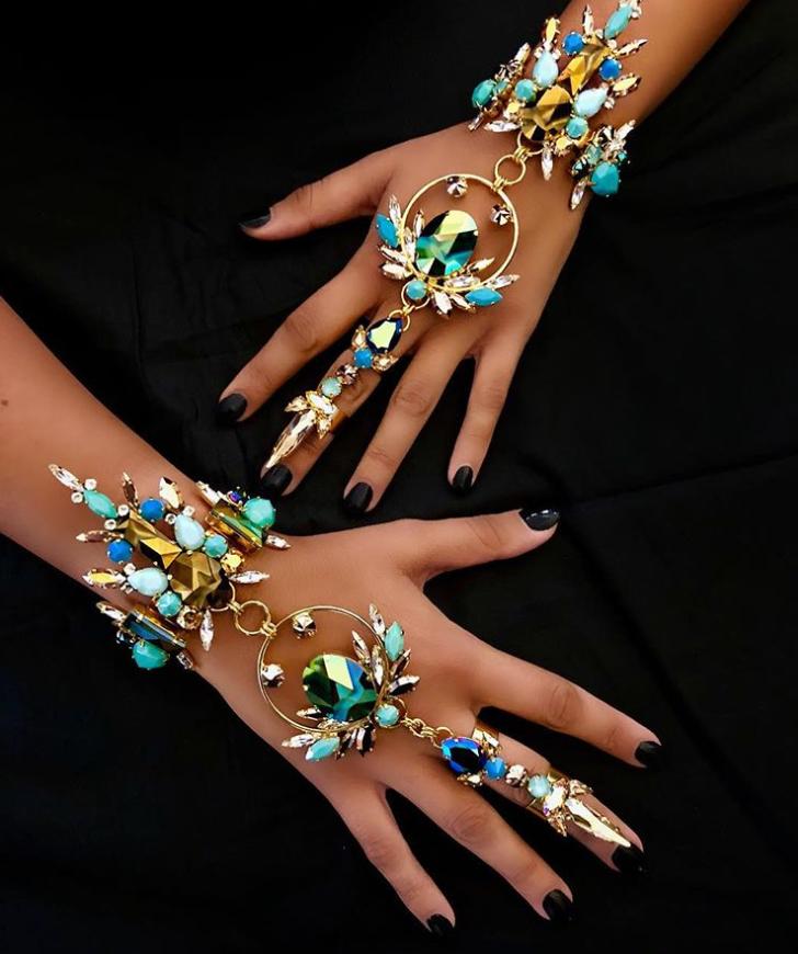 Blue crystal hand jewelry