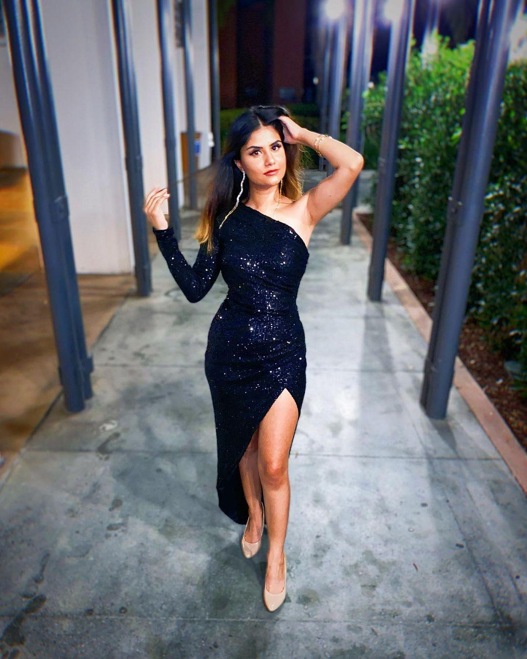 Short Sequin Dress One Shoulder Long Sleeve and Slit