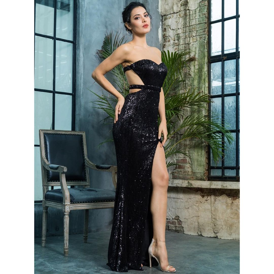 Sweetheart Neckline Off The Shoulder Long Sequin Gown with High Slit