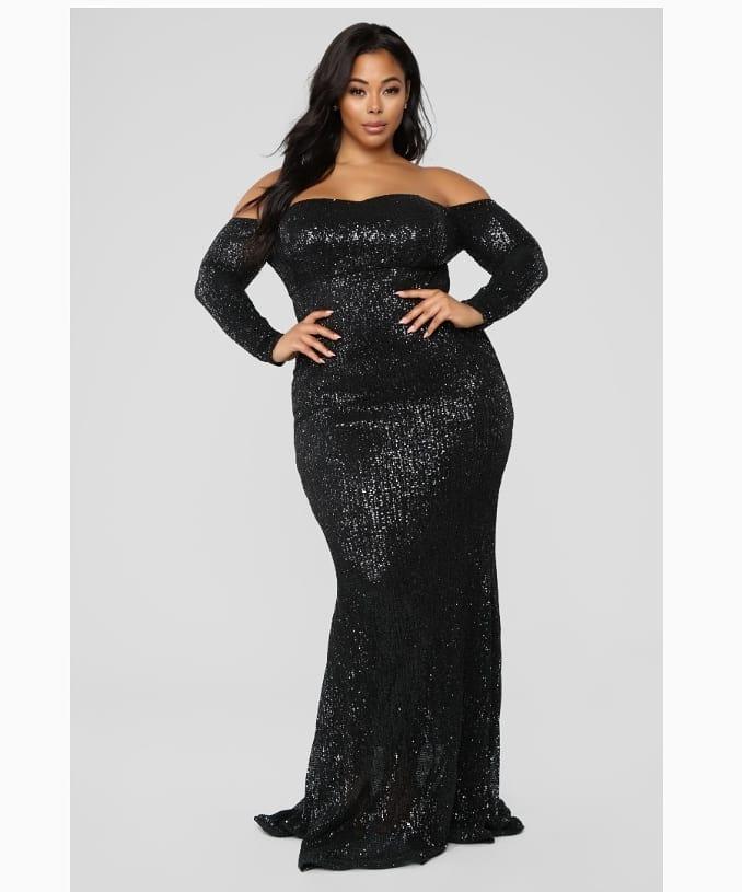 Plus Size Off The Shoulder Long Black Sequin Dress