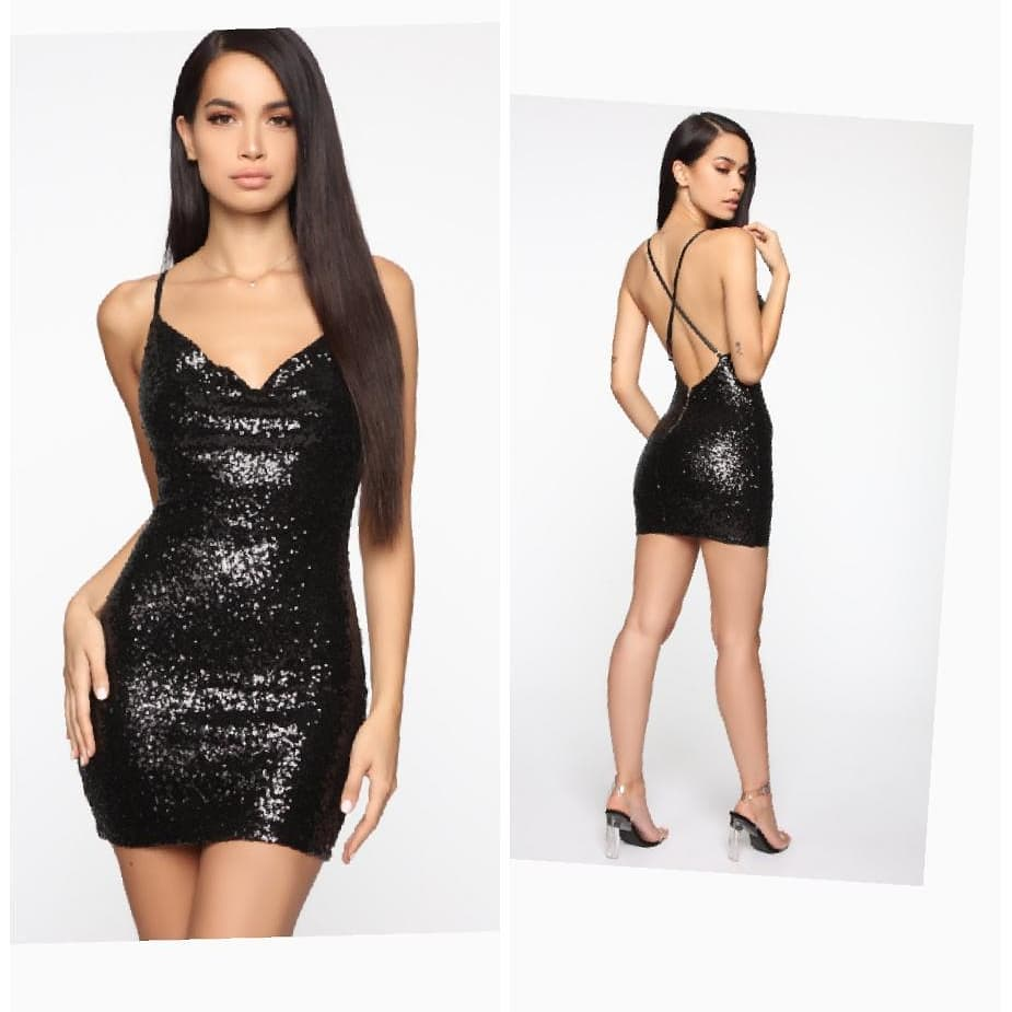 Strap Sleeveless Short Sequin Dress with Open Back