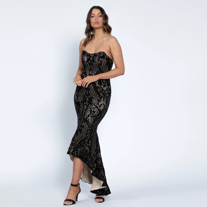 Off The Shoulder Sleeveless Long Black Sequin Gown