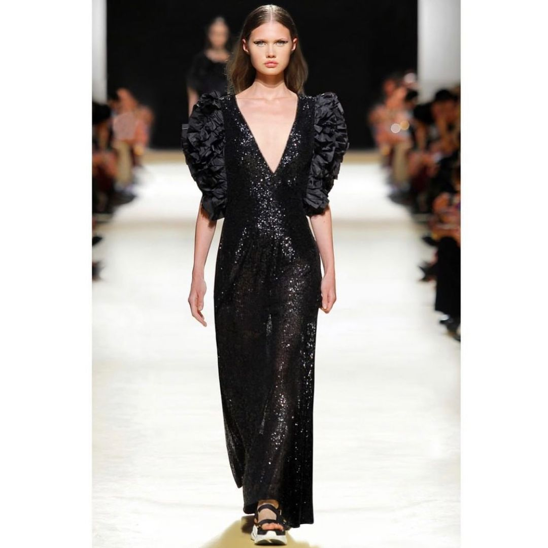 Black Sequin Long Gown with Deep V-Neck and Ruffles Sleeves