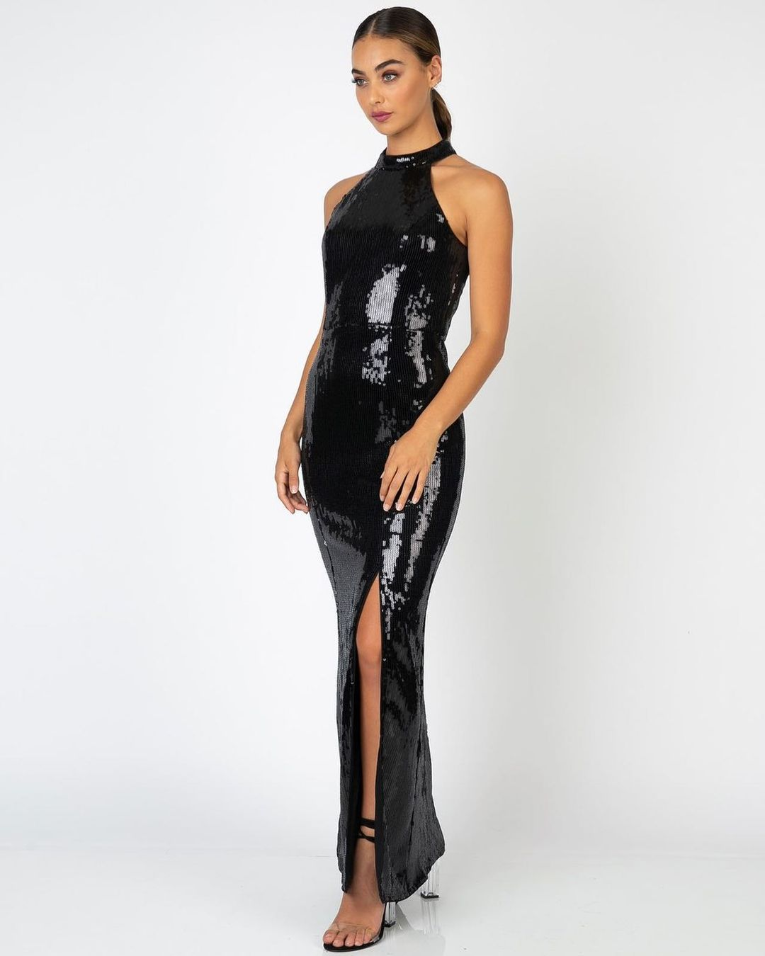 Long Sequin Dress with High Slit and Chinese Collar