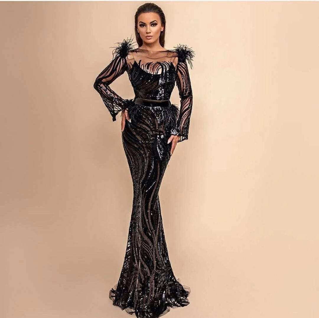 Long Classic Gown in Black Sequins with Long Sleeves and Fringes