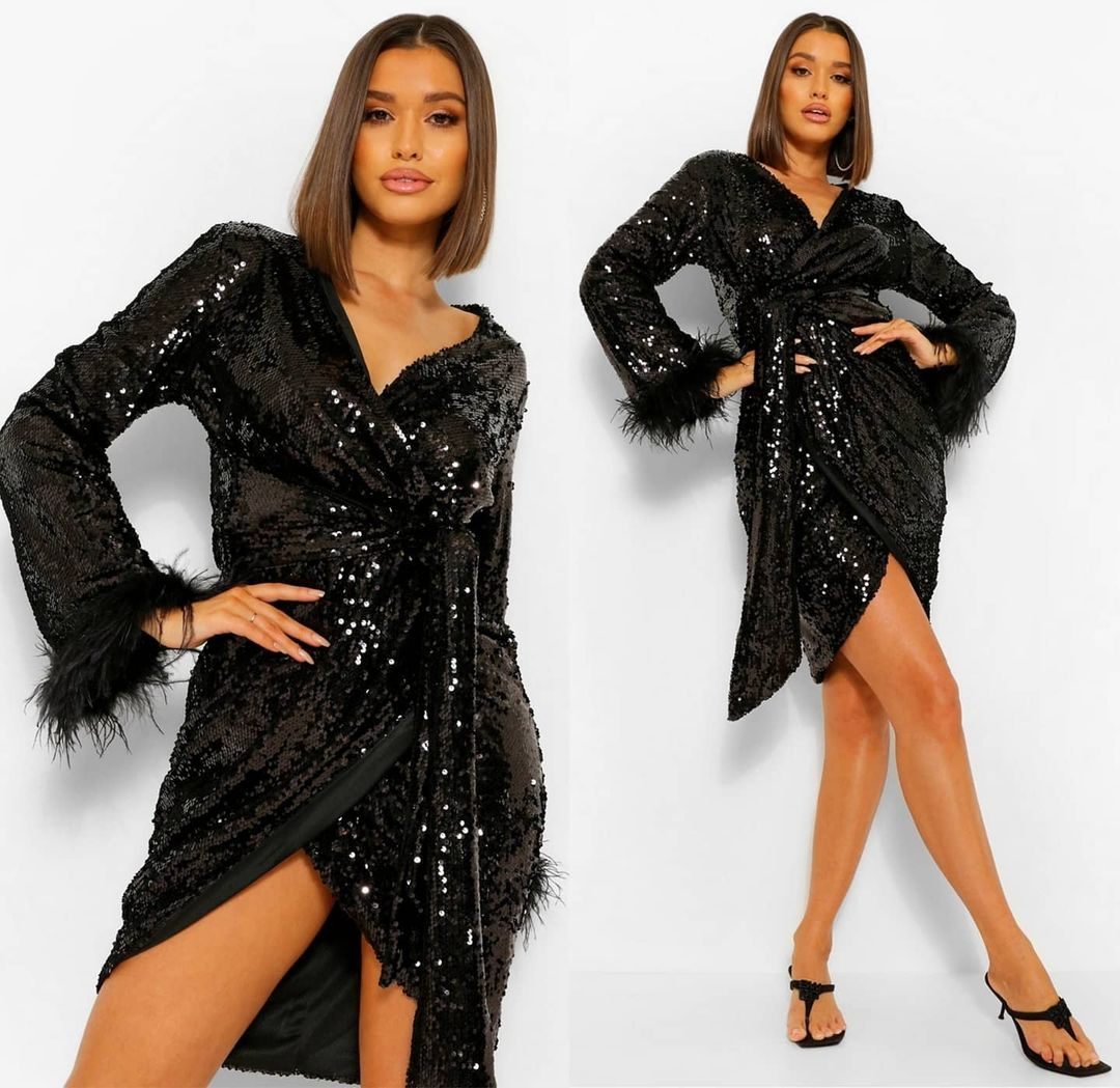 Black Sequin Wrap Short Dress with Long Sleeves and V-Neck