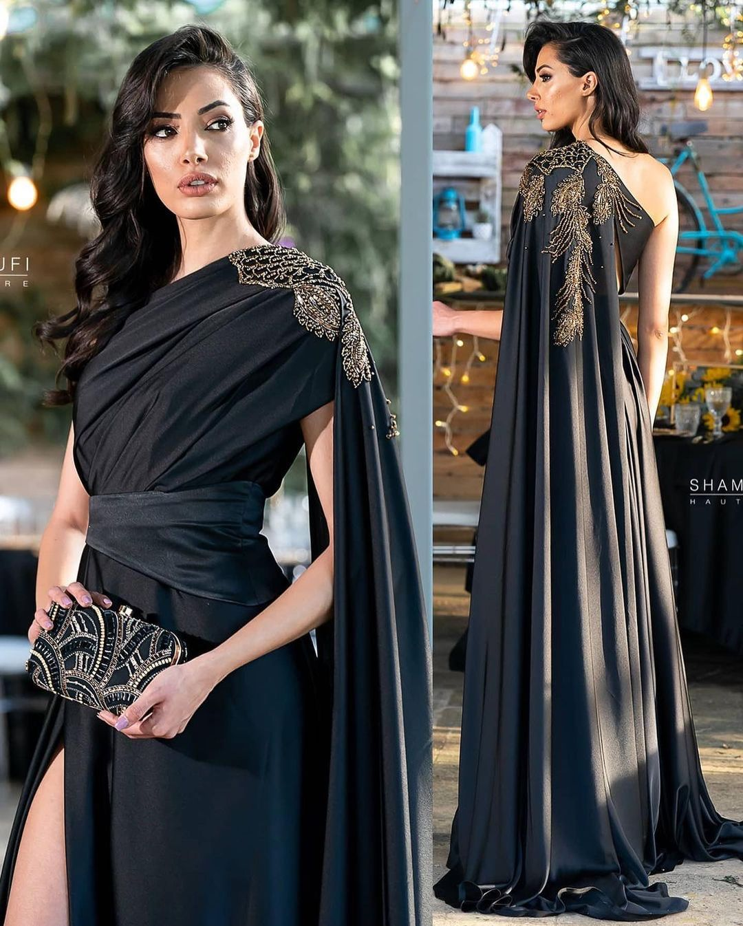 Long Gown One Shoulder with High Slit and Long Train
