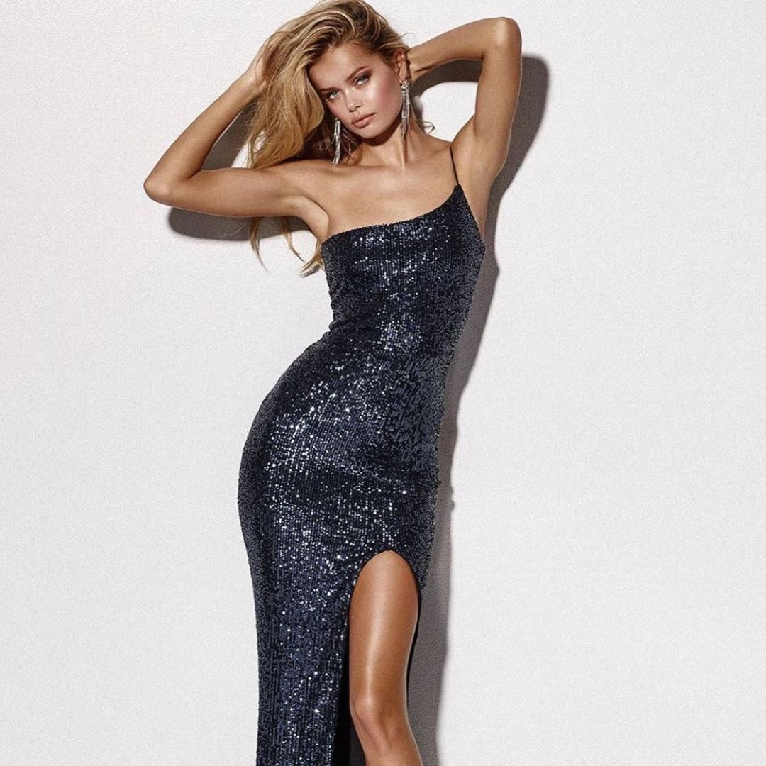 Long Sequin Black Gown with One Shoulder Spaghetti Strap and High Slit