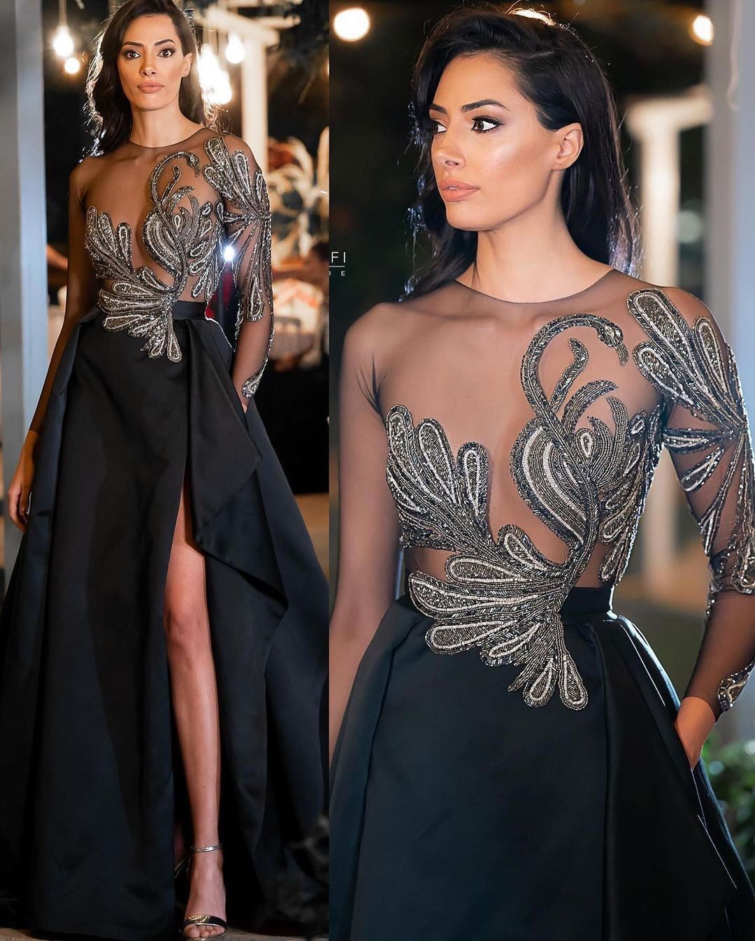 Black Mesh Long Sleeves Top with Sequin Embroidery and High Slit Gown