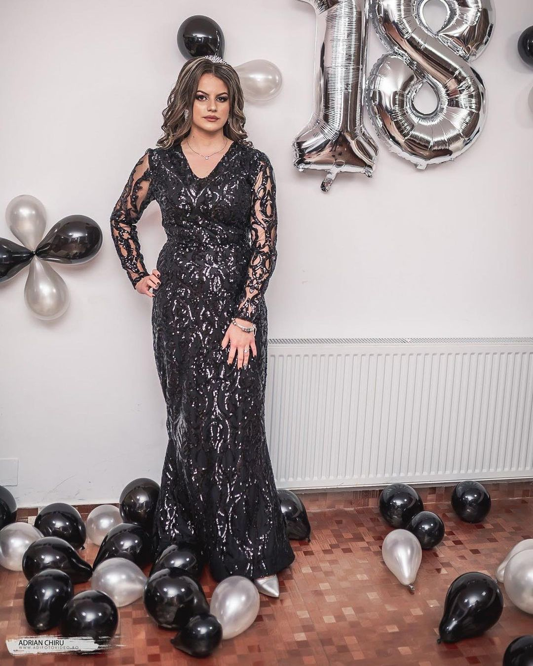 Black Sequin Long Sleeves and V-Neck Perfect Birthday Gown