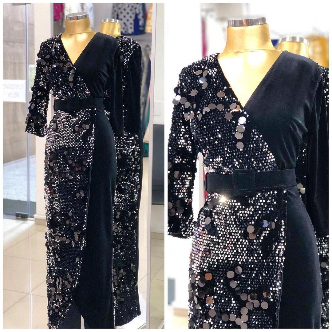 Black Sequin V-Neck Sequin Dress with Long Sleeves and Belt