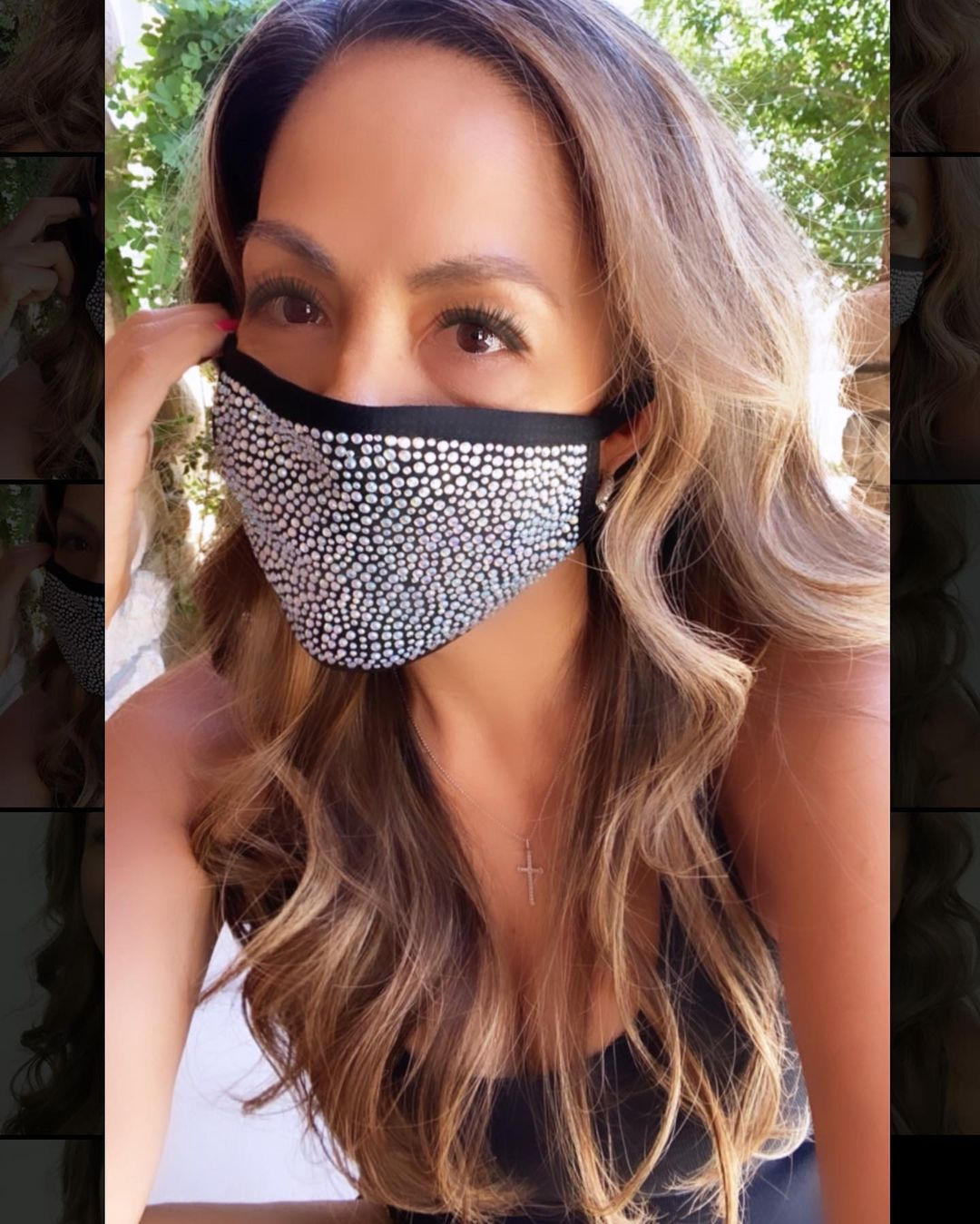 Bling face mask Black Fabric Reusable Face Mask with Rhinestones