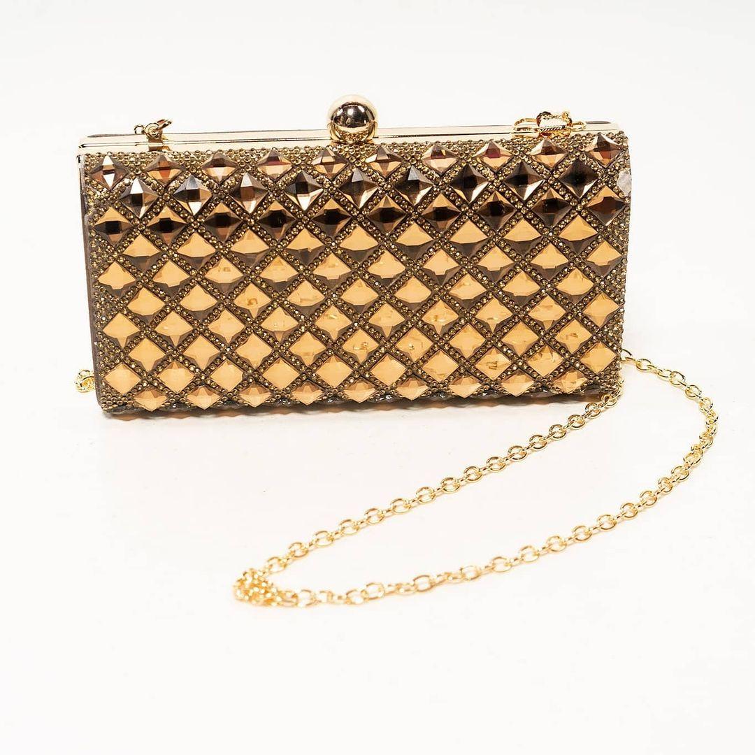 Gia Mirror Rhinestone Evening Bag with A Chain Strap