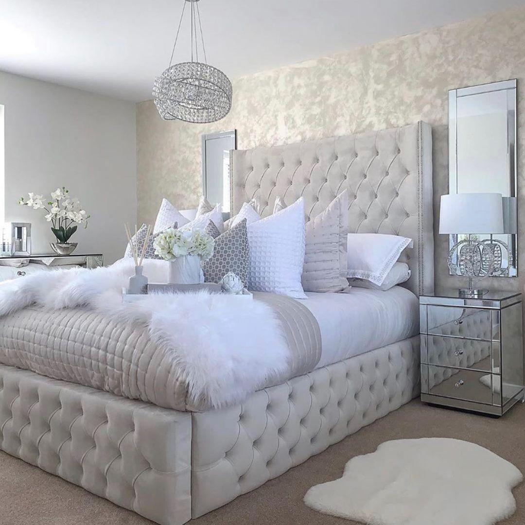 Bling for Your HOME White Headboard For Bedroom with Rhinestones and Crystal Chandelier