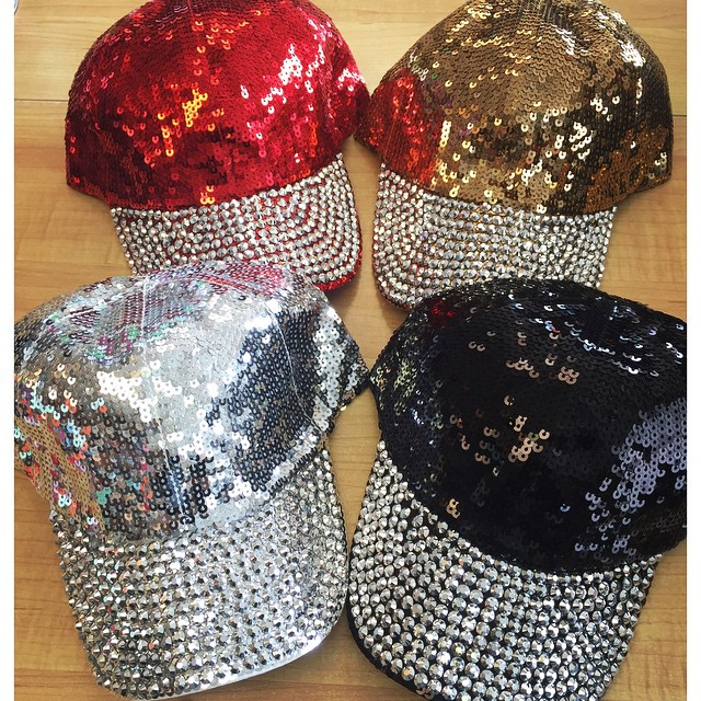 Bling BASEBALL CAPS Glittering Sequins with Rhinestones Cap