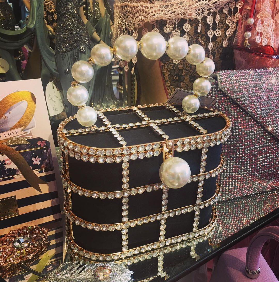 BLING BAGS to Update Your Glamour Accessories Black Handbag with Rhinestones and Pearls