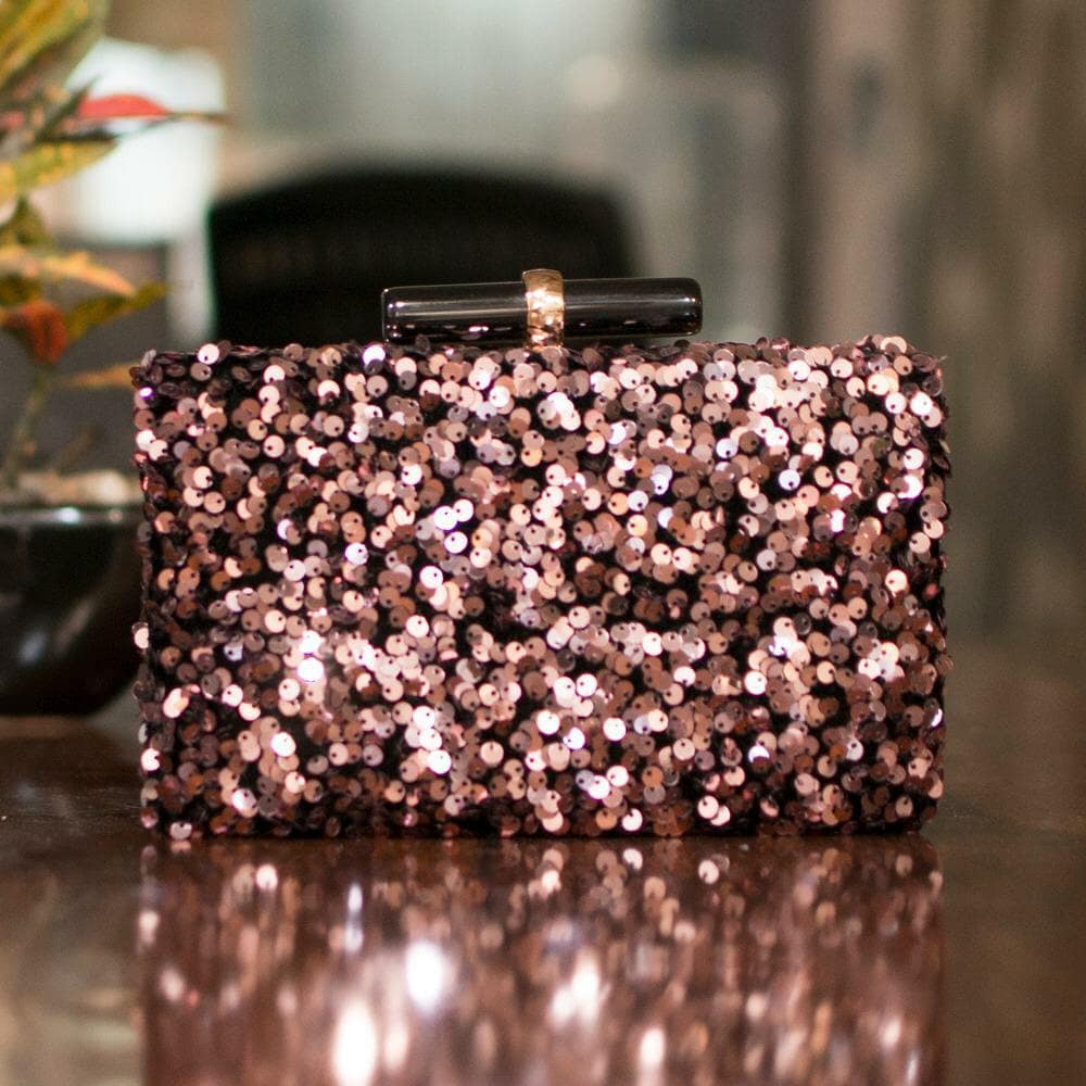 Rose Gold Sequin Clutch For The Evening
