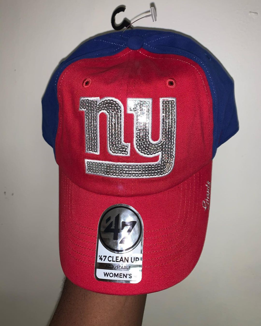 Red and Blue Cotton Cap with Sequin Embroidery Work