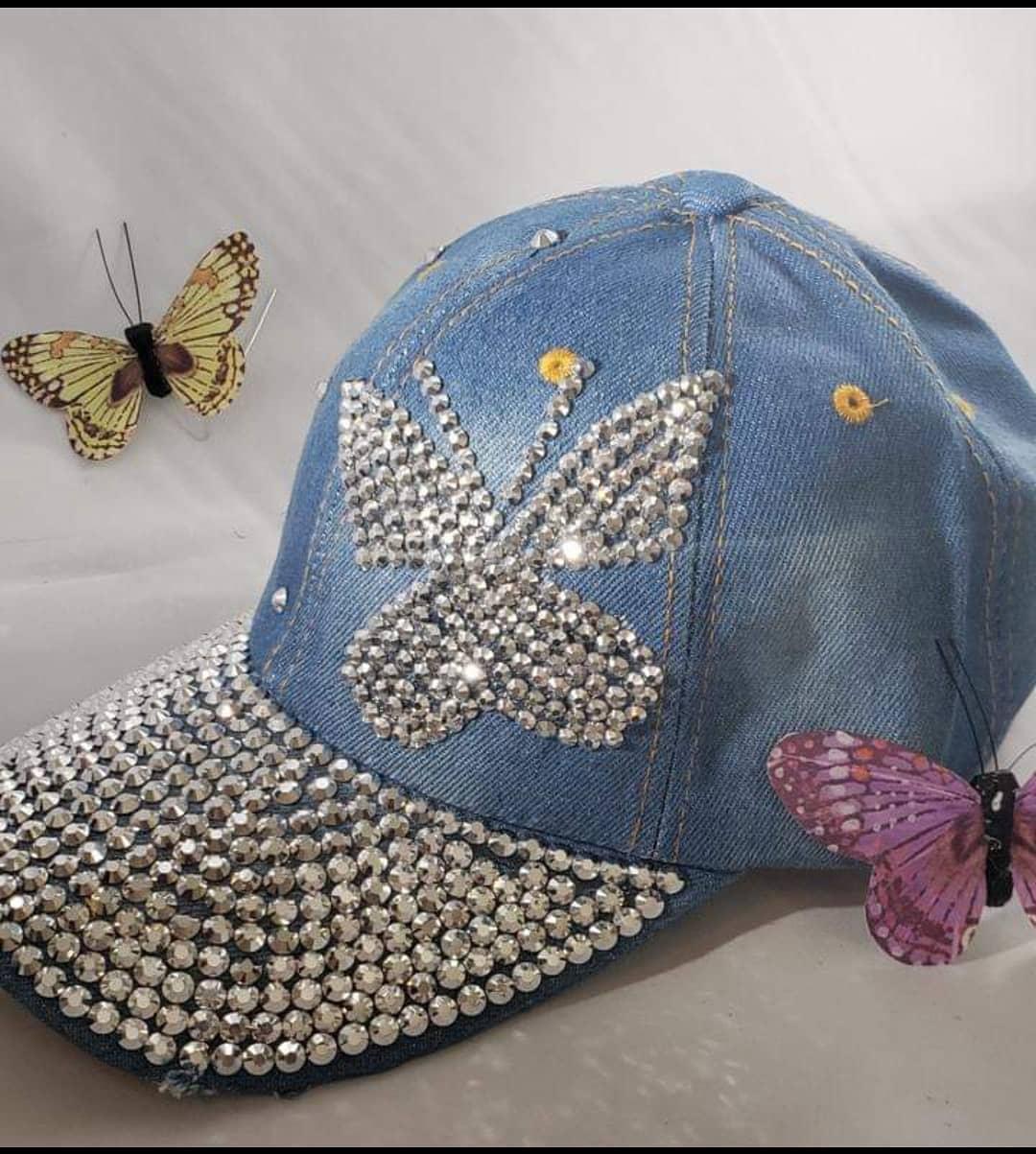 Elegant Blue Denim Hat with Rhinestones DIY Cap