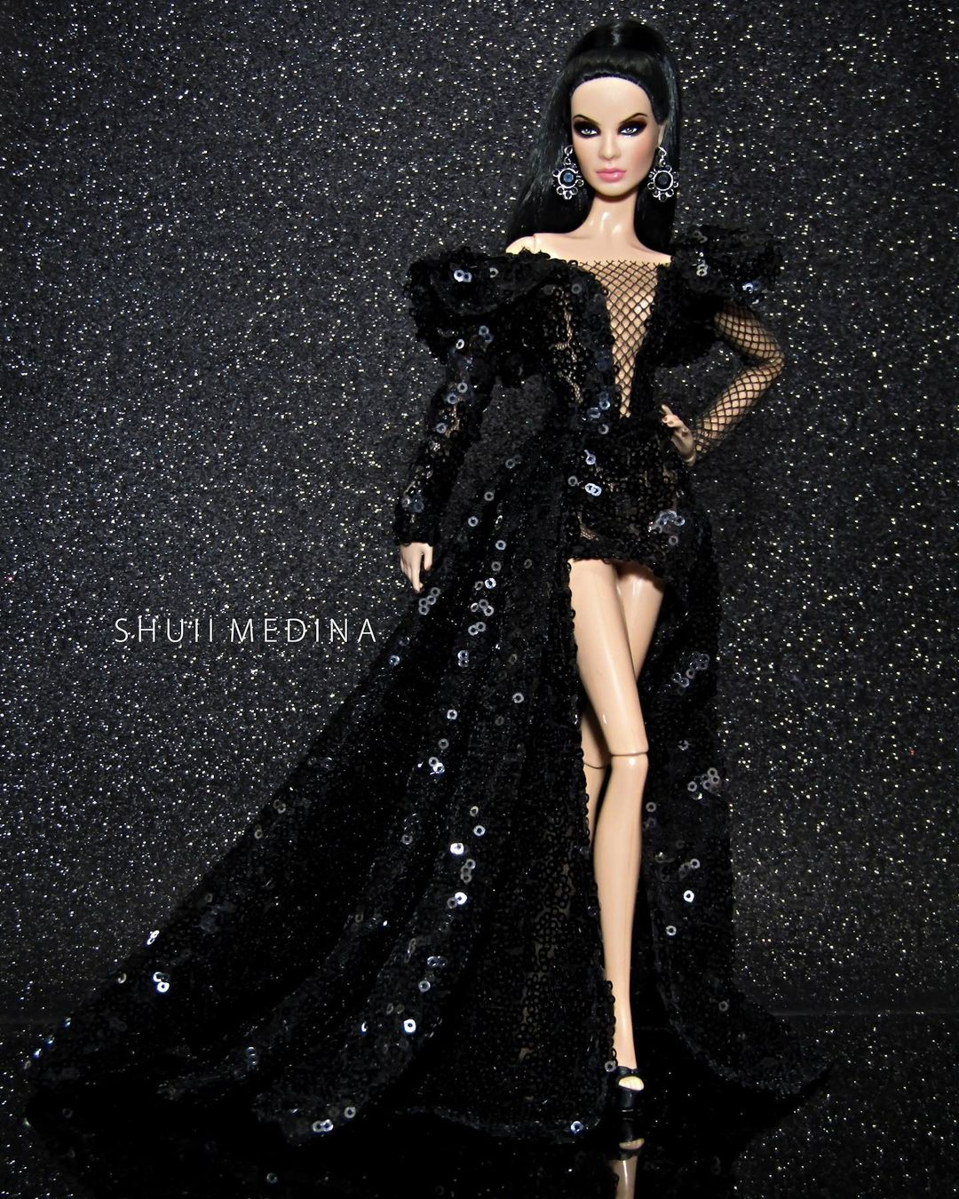 Long Deep V-Neck Black Sequin Gown with Long and Short Hemline