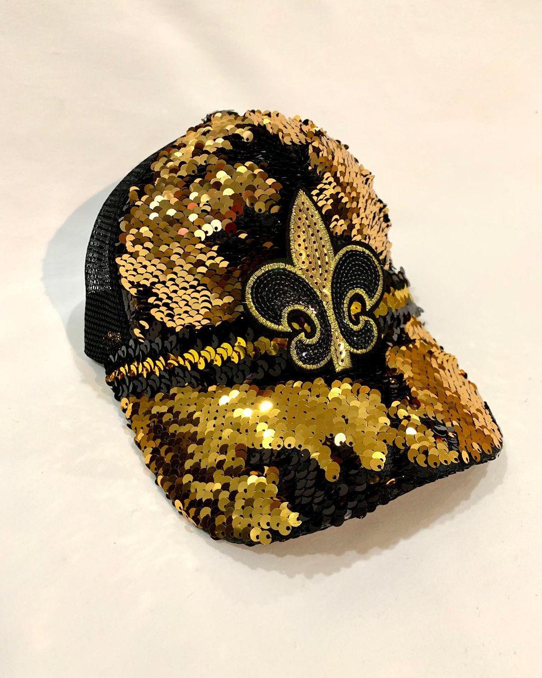 Bling BASEBALL CAPS Black and Gold Reversible Sequins Baseball Cap