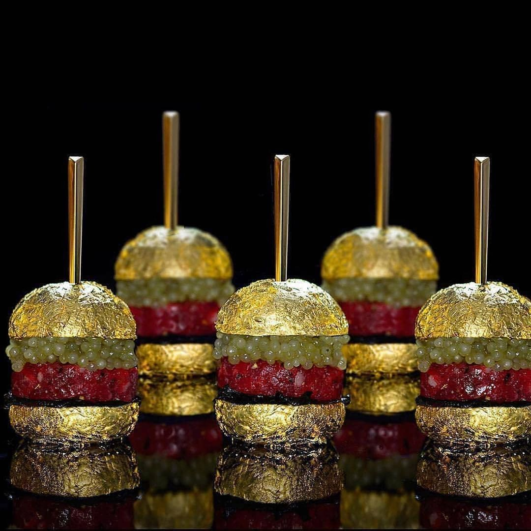 Gold Bling Food Beef Tartare Sliders with Gold Leaf Brioche Buns