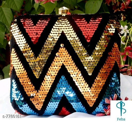 Women box Clutch with Sequins