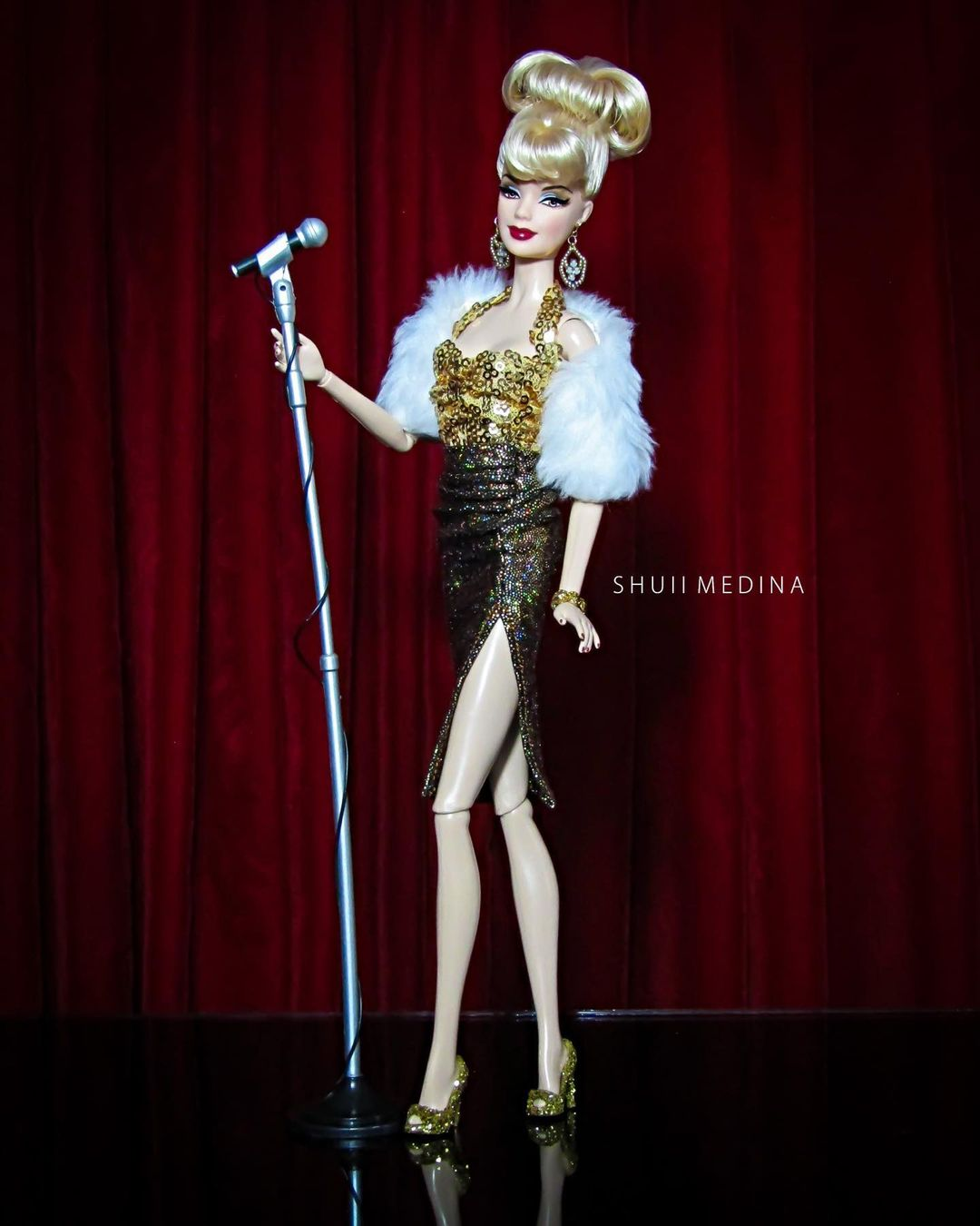 Bling Dolls Gold and Black Sequin Strap Short Dress with High Slit