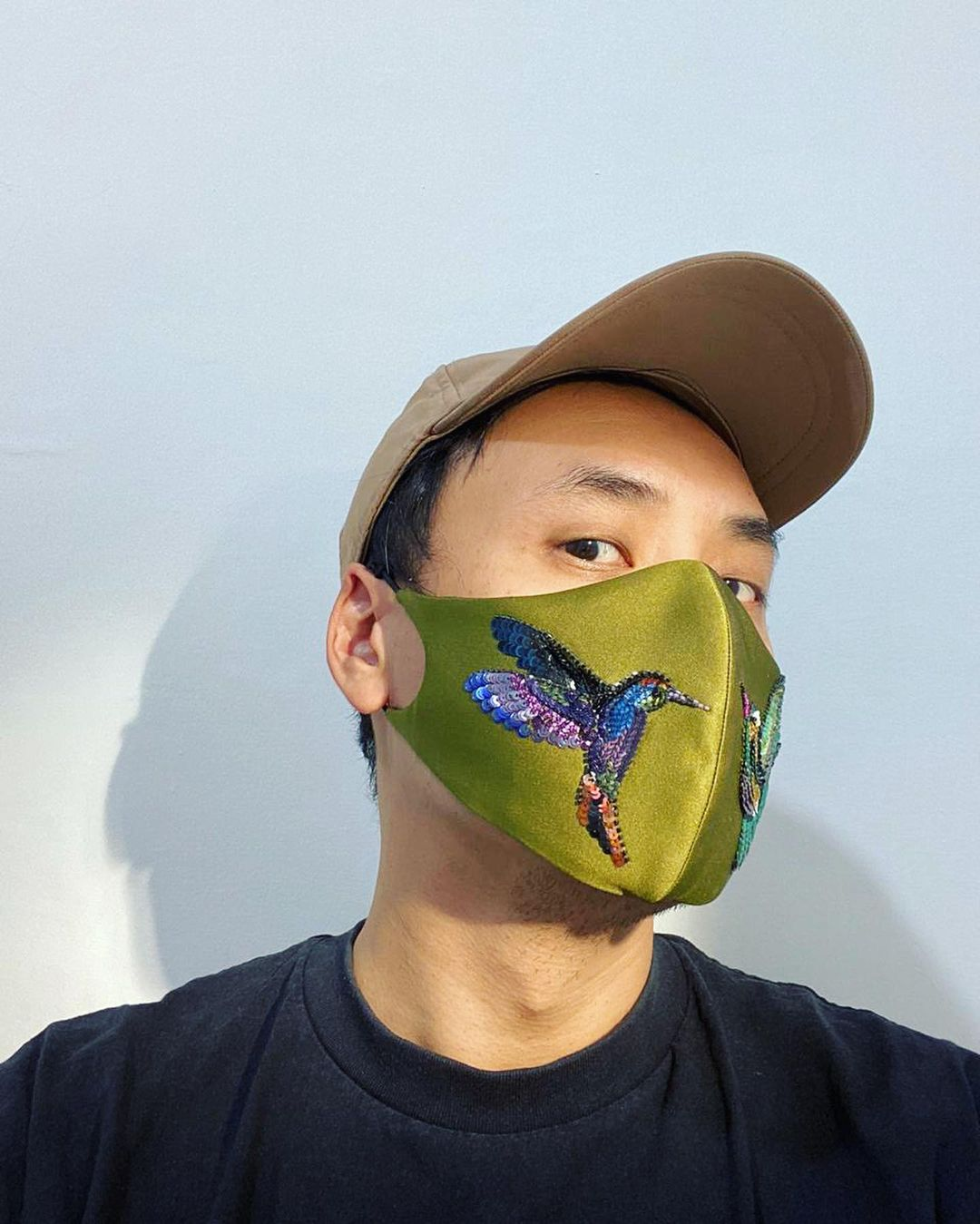 Bling face ask Green Cotton Face Mask with Multi-Colour Sequins In Bird Pattern