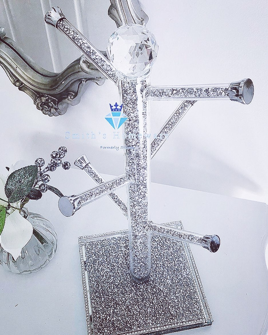 Bling for Your HOME Bling Silver Mug Tree with A Crystal Ball On Top