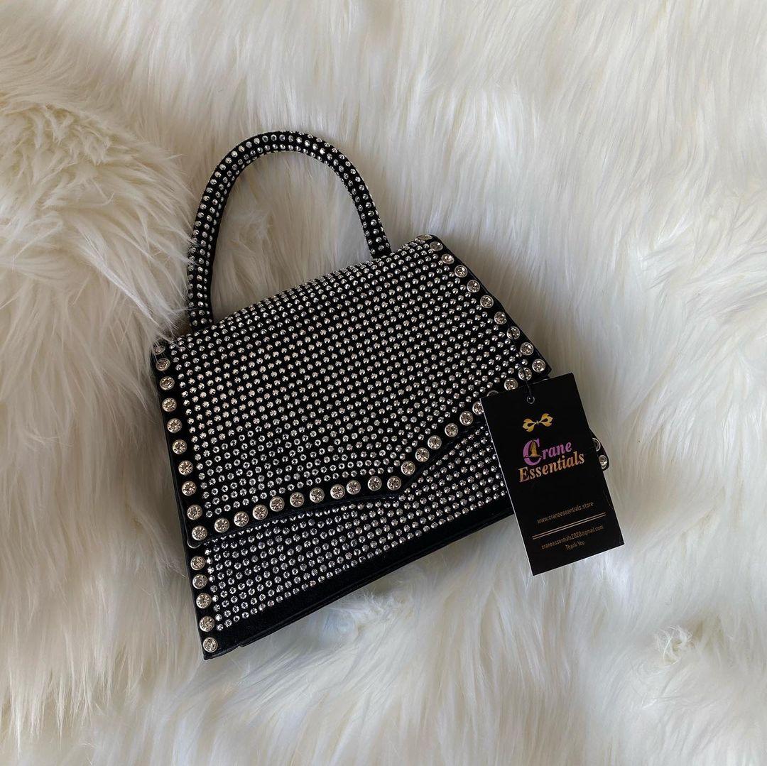Black Evening Handbag with Rhinestones and Hand Strap