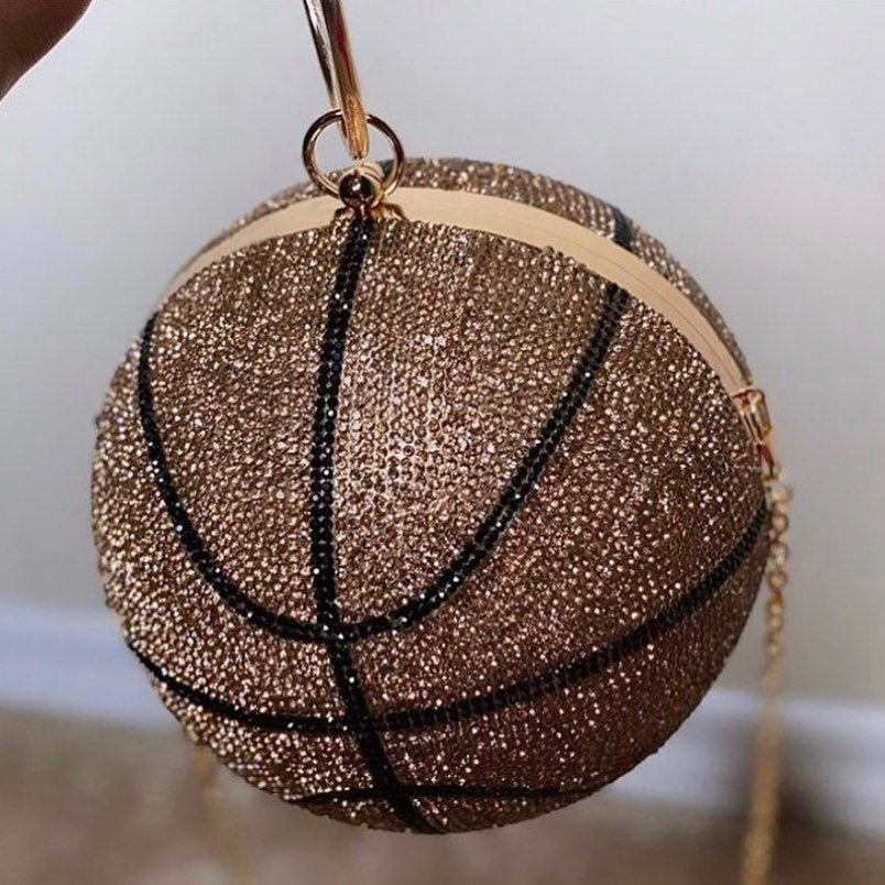 Baller Evening Bag with Rhinestones In A Basketball Pattern