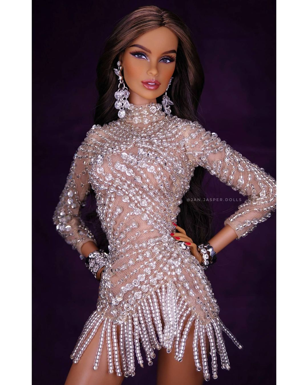 Bling Dolls Short Crystal Embellished Dress with Long Sleeves and Hanging Beaded Fringes