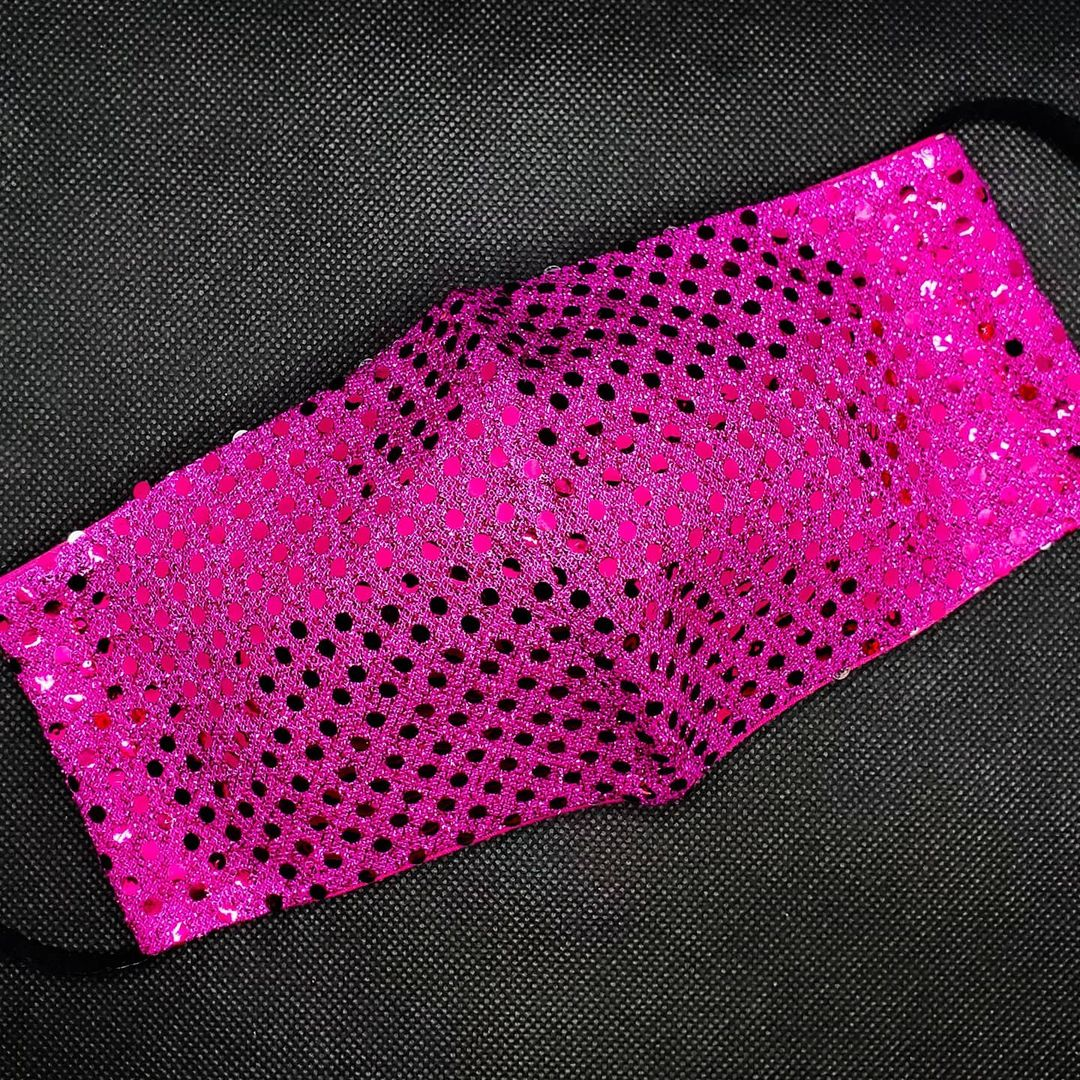 Bling Face Masks Dark Pink Reusable Fabric Mask with Sequins