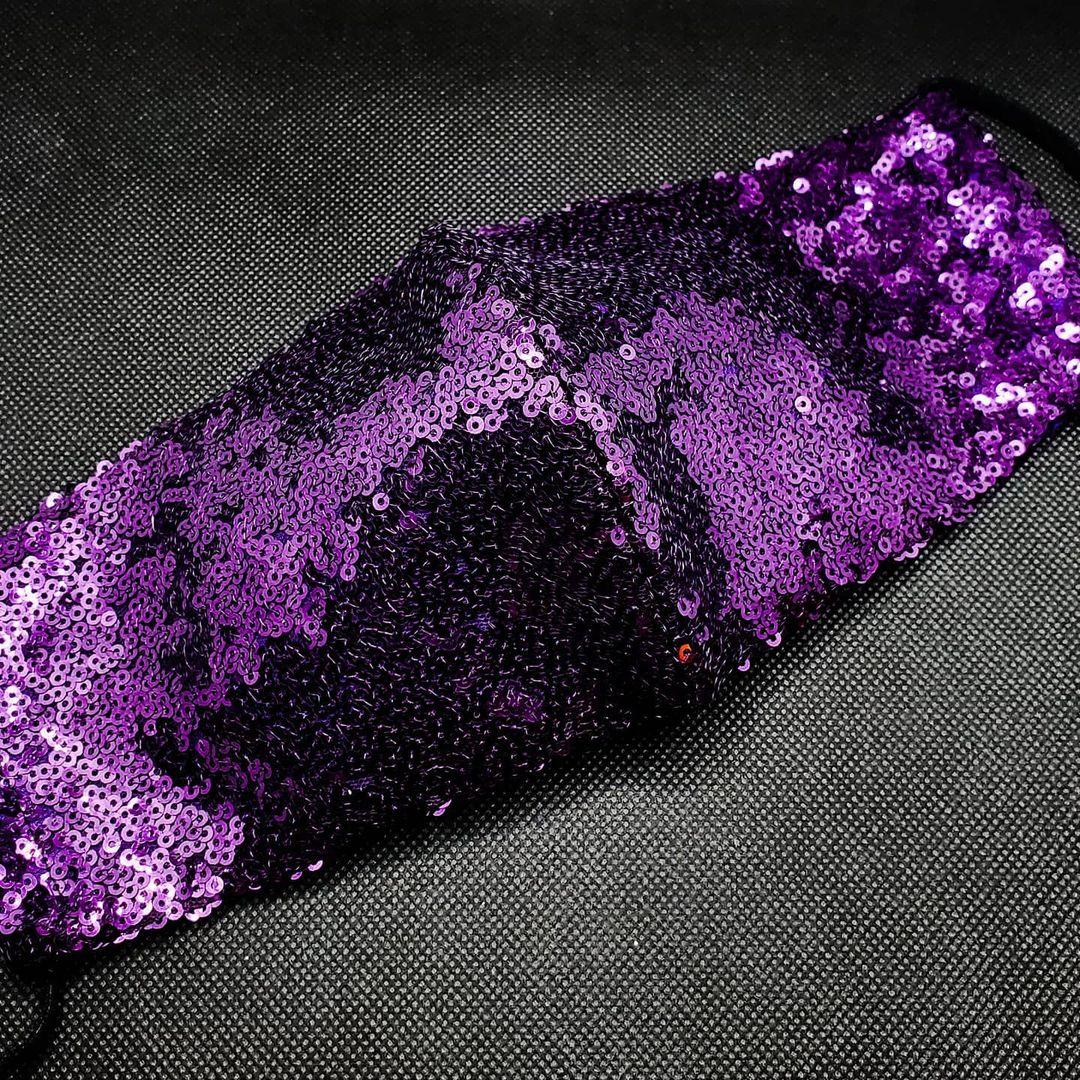 Bling face masks Dark Purple Sequin Fabric Mask, Reusable