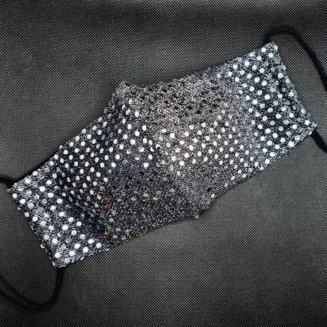Bling face masks Silver Glittering Reusable Fabric Mask with Sequins