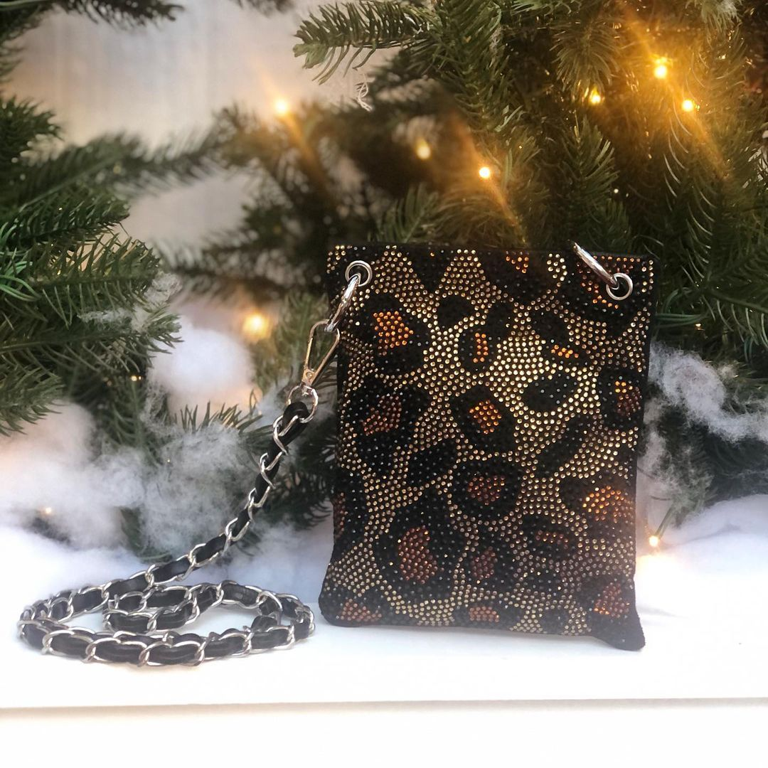 BLING BAGS to Update Your Glamour Accessories Leopard Print Crossbody Sling Bag with Rhinestones