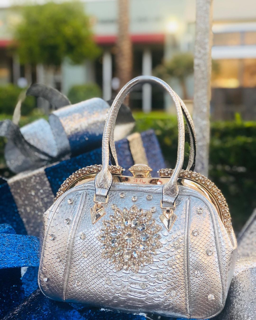 Silver Handbag with Gold Rhinestones in Flower Pattern