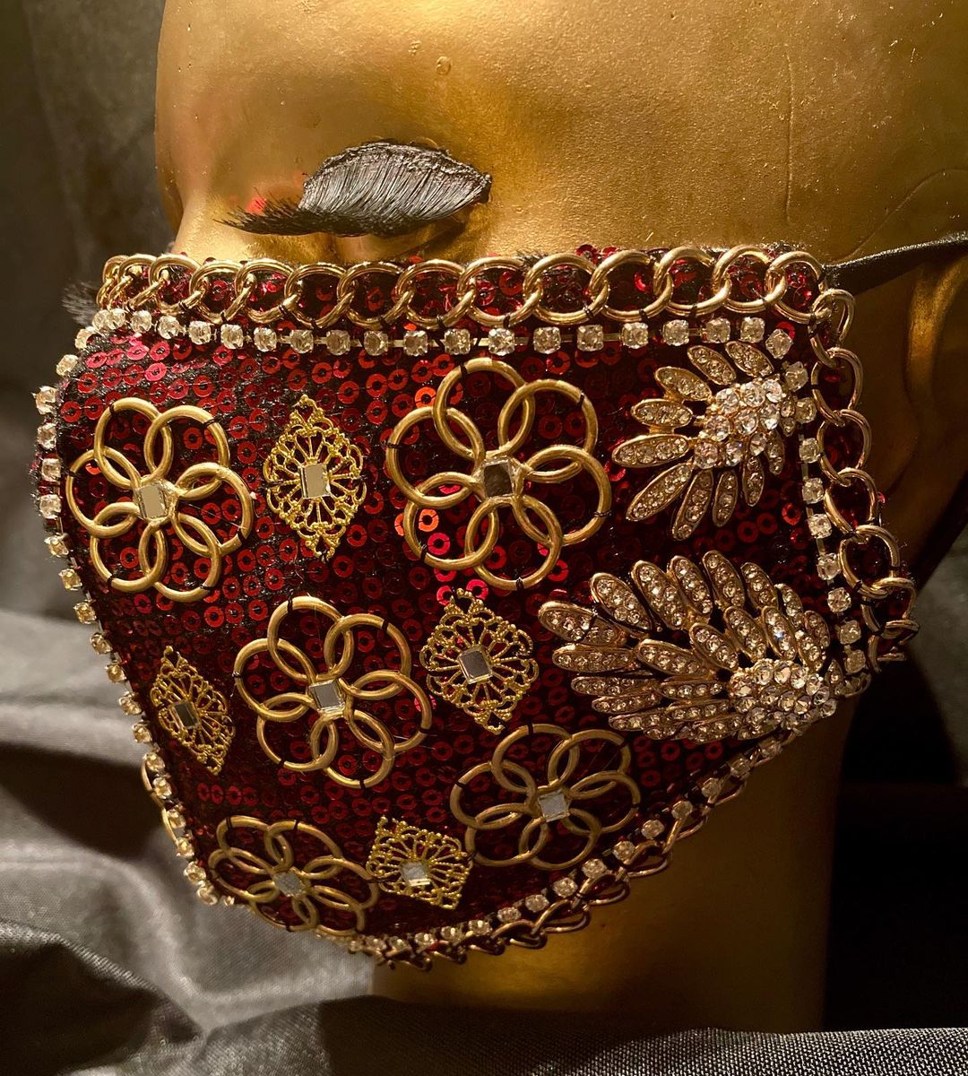 Bling Face Masks Red Fabric Face Mask with Rhinestones and Link Chains