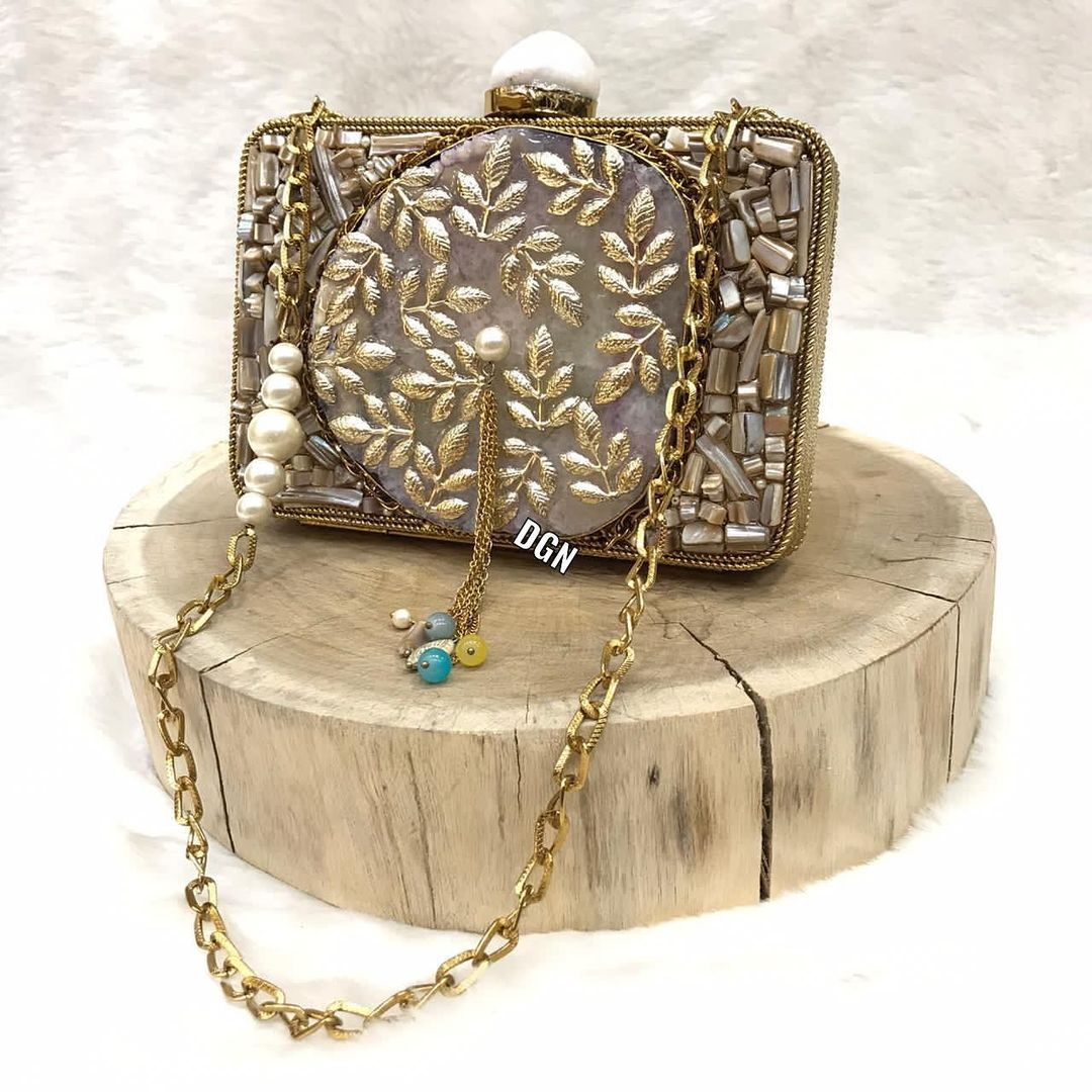 BLING BAGS to Update Your Glamour Accessories Gold Colour Evening Clutch with Rhinestones and Long Hand Chain