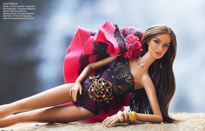 Bling Dolls Black One Shoulder Mesh Dress with Beads Embellishments