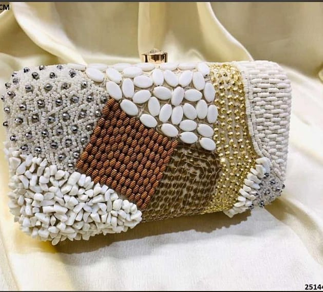 White with Gold and Silver Sequins Evening Clutch