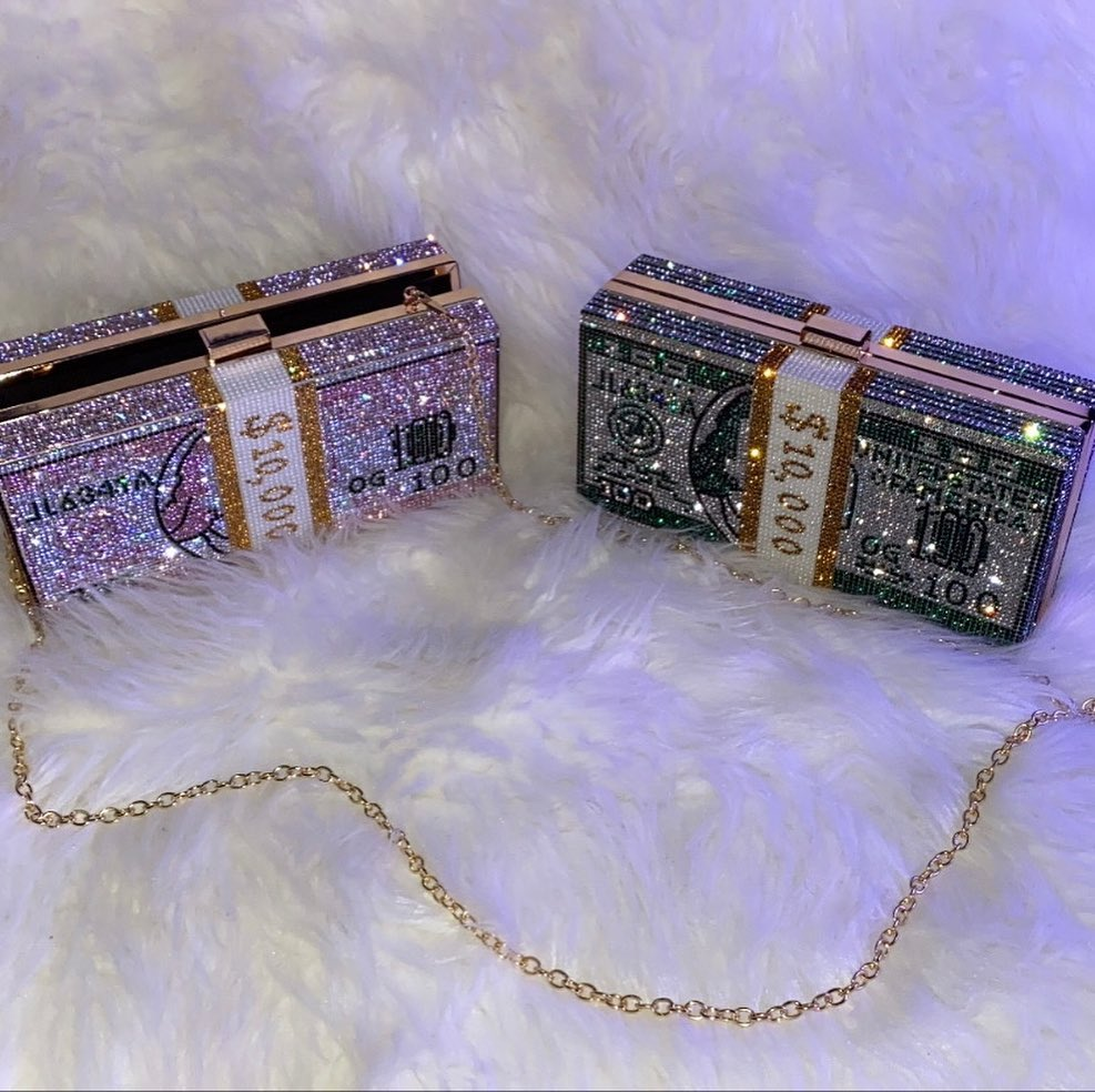 BLING BAGS to Update Your Glamour Accessories Count The Stack Evening Clutch with Rhinestones
