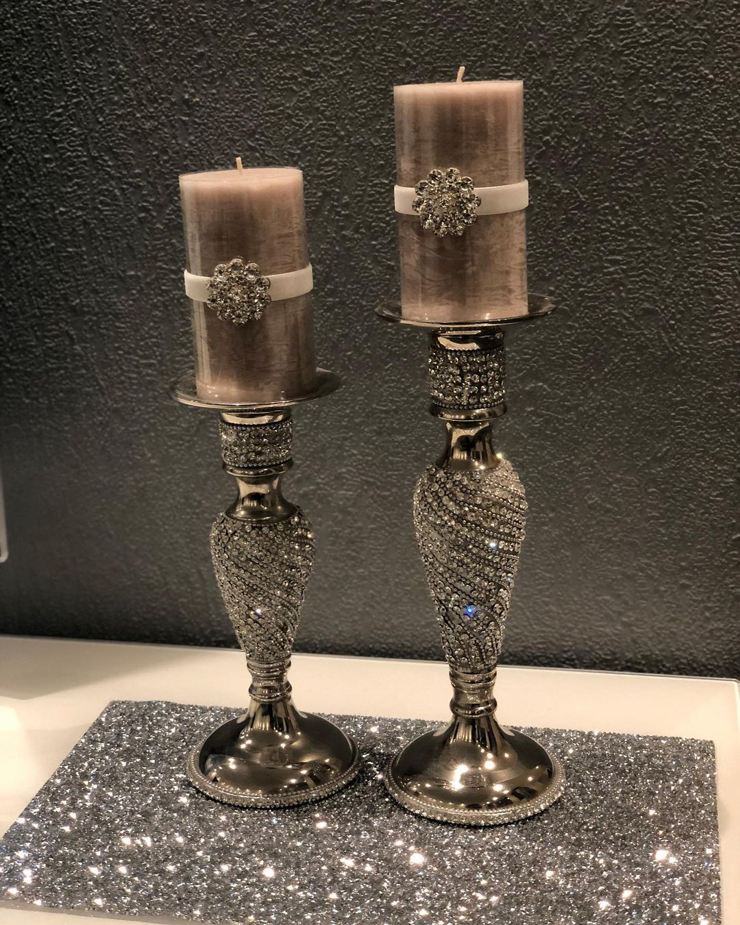 Elegant Silver Metalic Candle Stands with Rhinestones