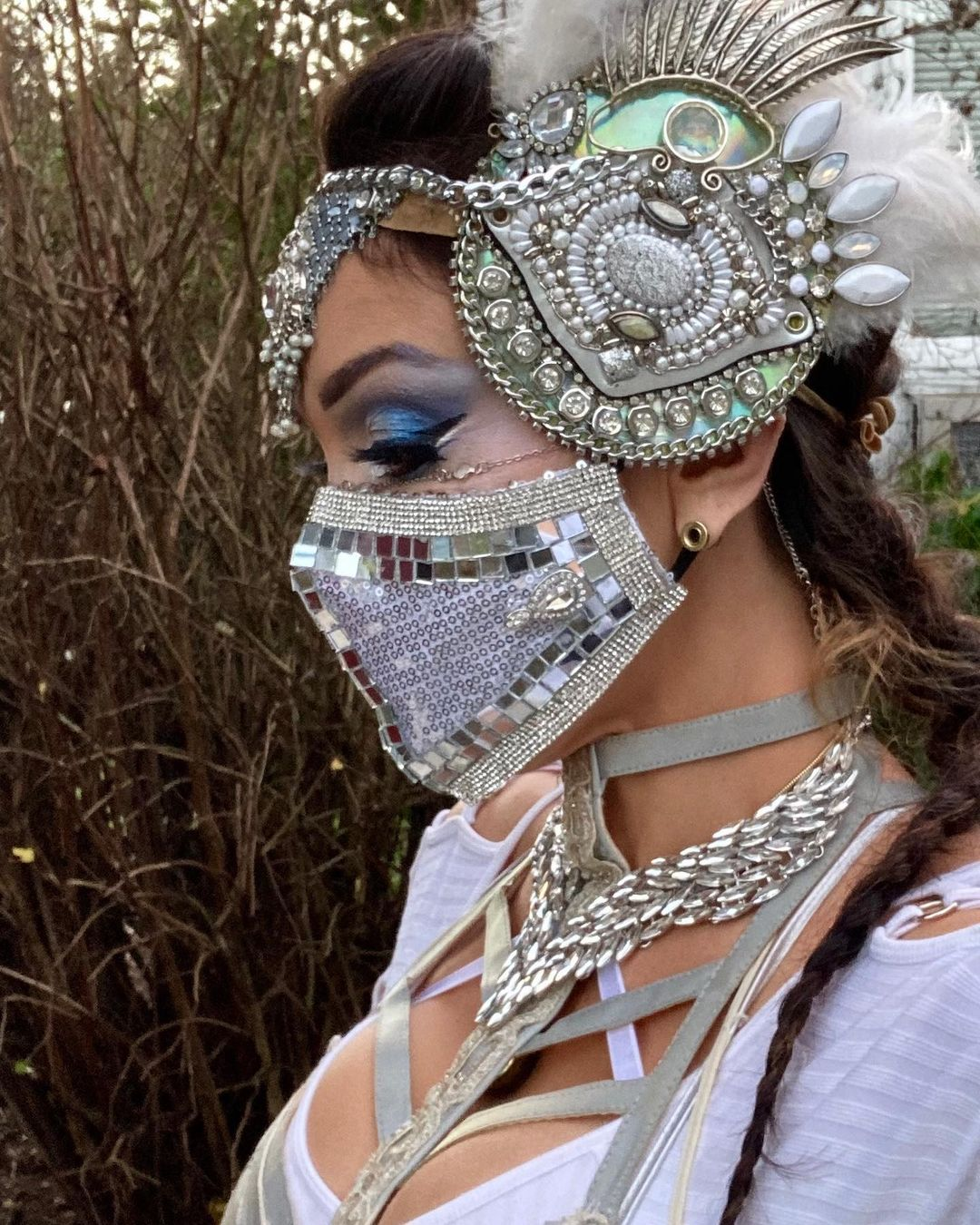 Bling face masks Silver Glittering Face Mask with Beads and Mirror Sequins and Rhinestones