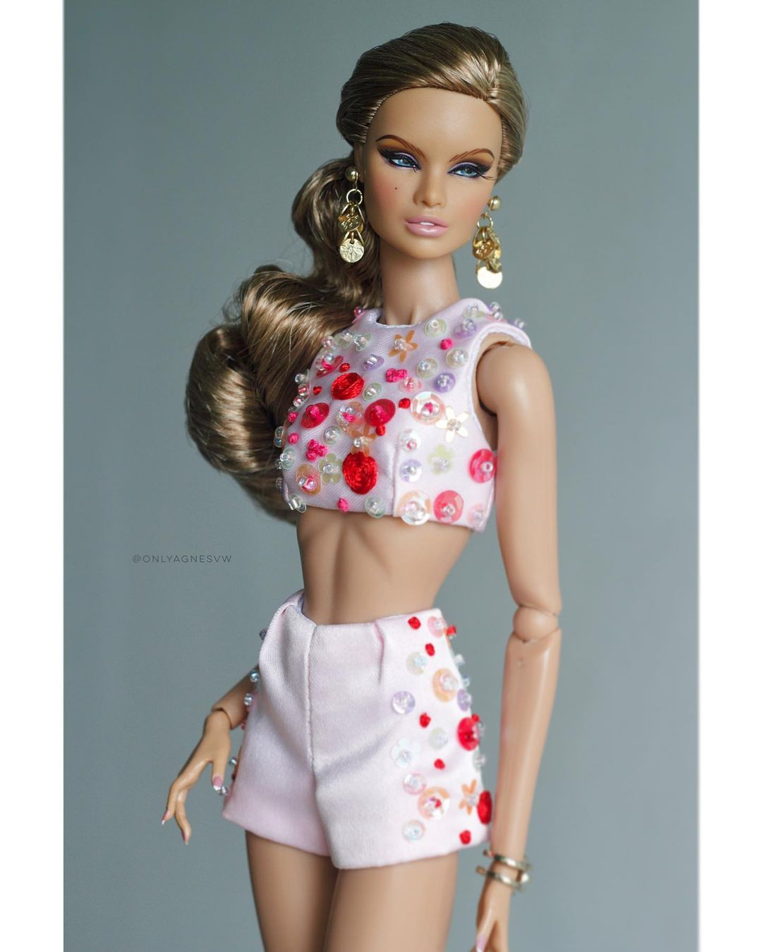 Bling Dolls Sequin with Crystals Crop Top with Hot Shorts