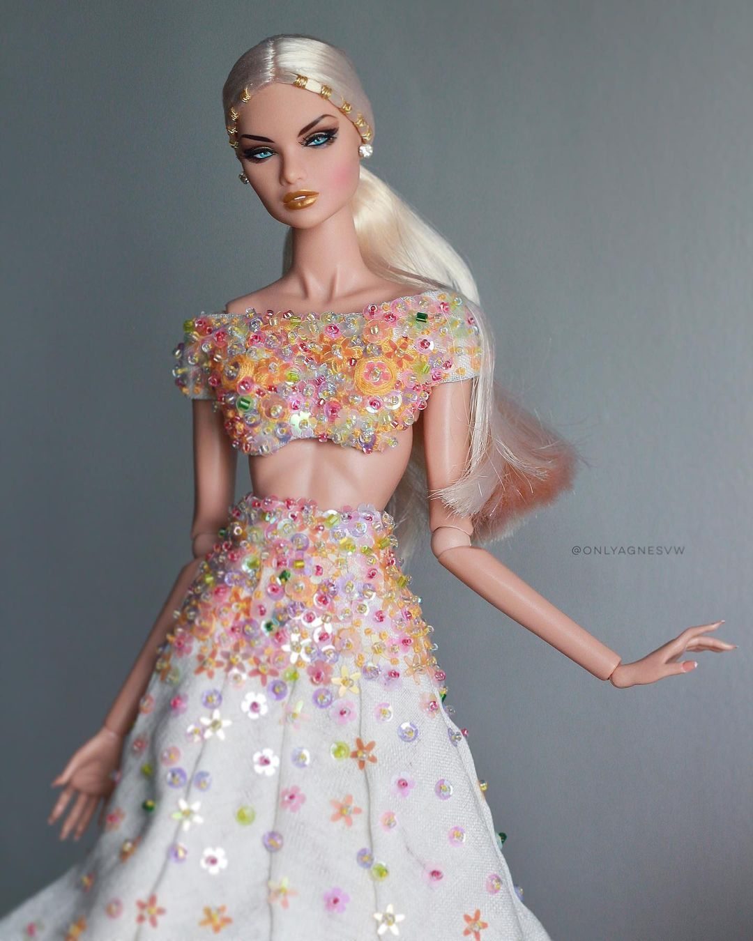 Bling Dolls Multi-Color 2 Piece Sequins Top and Skirt