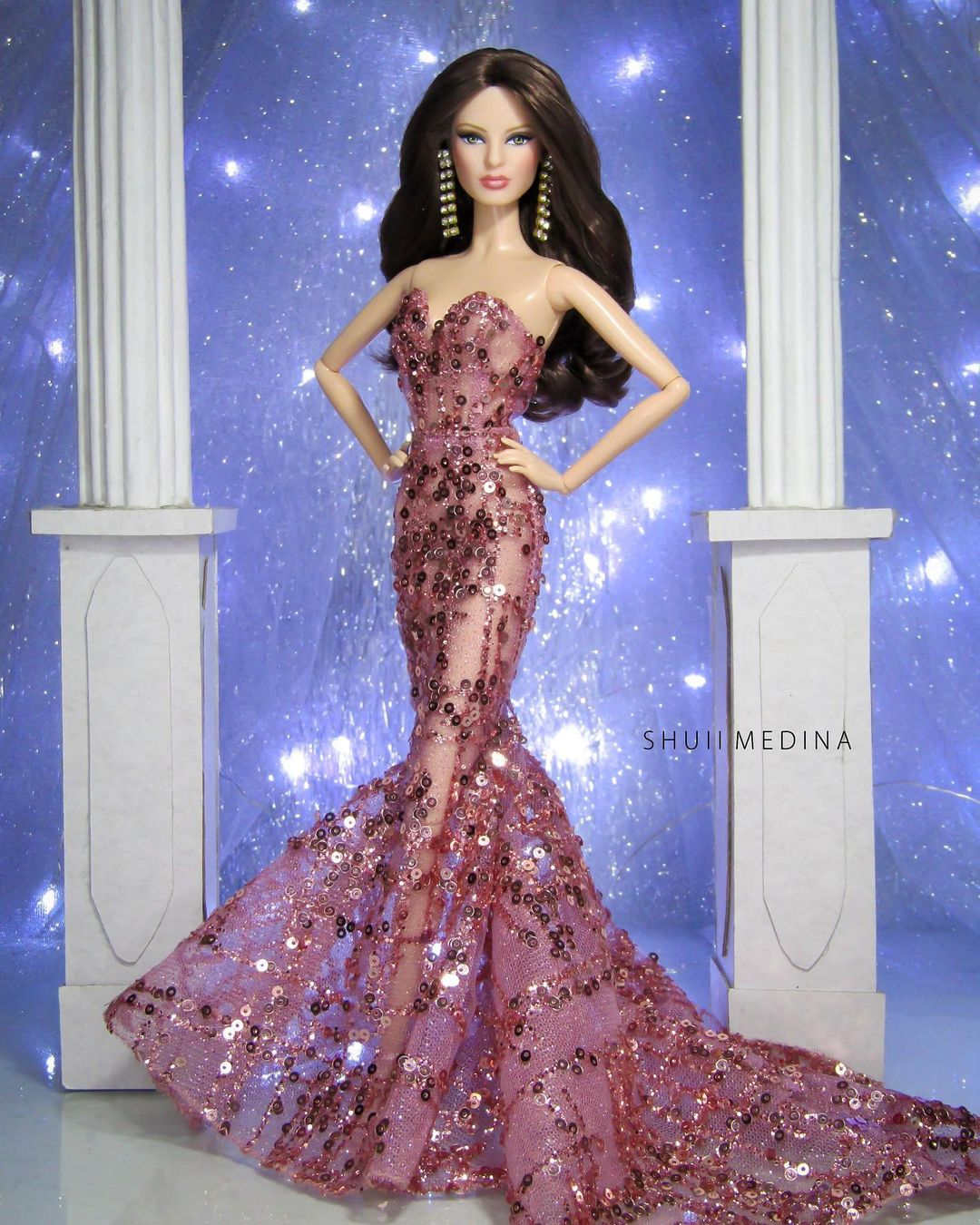 Bling Dolls Long Pink See Through Mesh Sweetheart Neck Gown with Sequins and Long Train