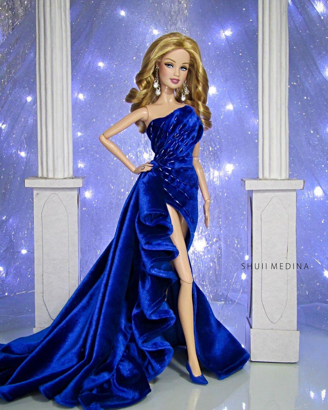 Bling Dolls Dark Blue Velvet Dress with Beaded Embellishment